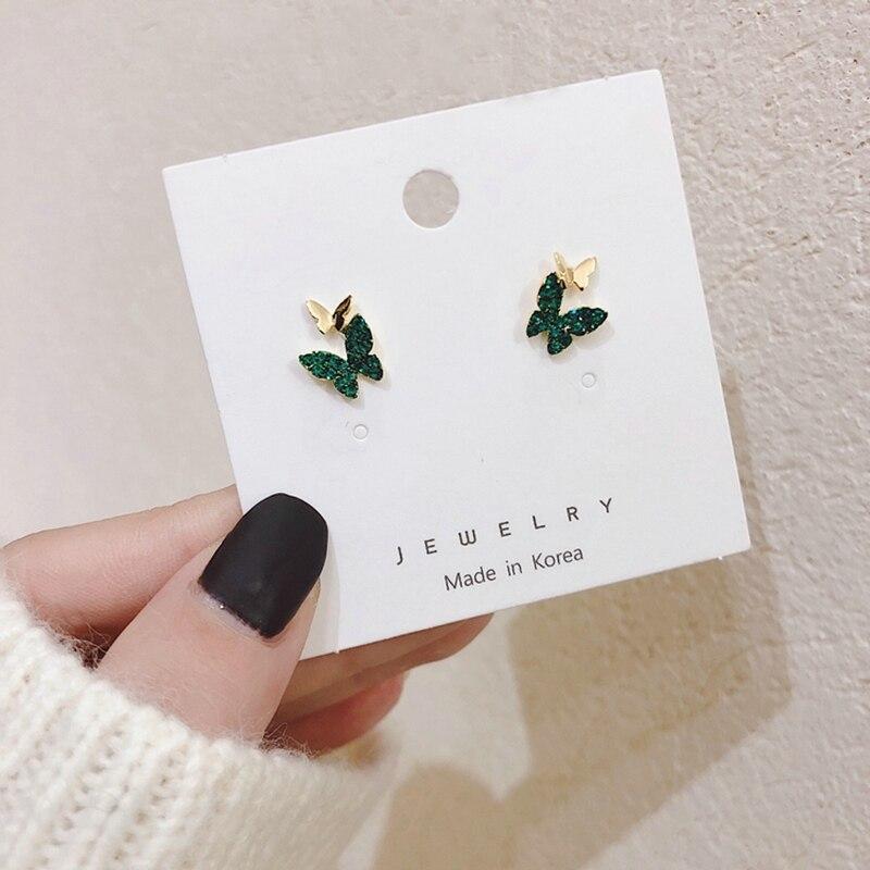 MENGJIQIAO Hot Sale Vintage Cute Green Rhinestone Butterfly Stud Earrings For Women Lovely Boucle D'oreille Fashion Jewelry
