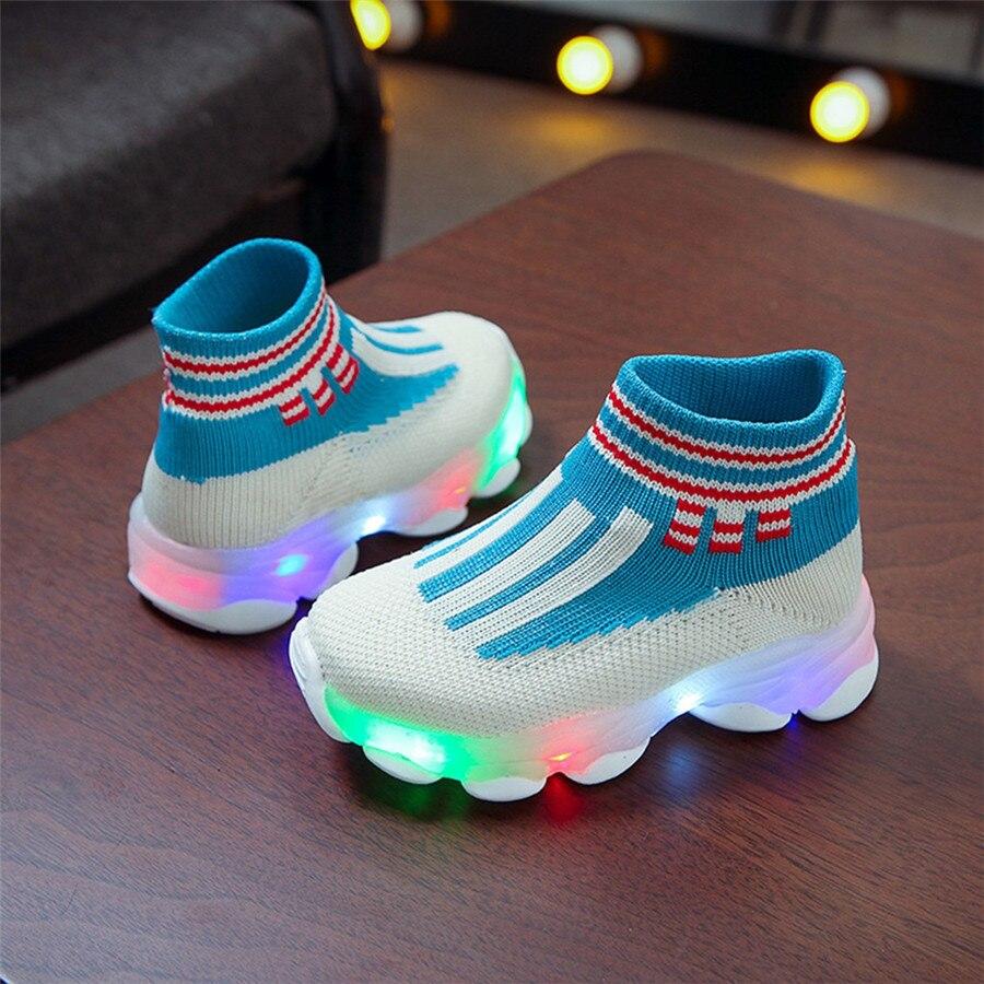 sport shoes kids led luminous running shoes light kids sneakers boy girls football sneakers lights krampon futbol orjinal #40J30 (5)