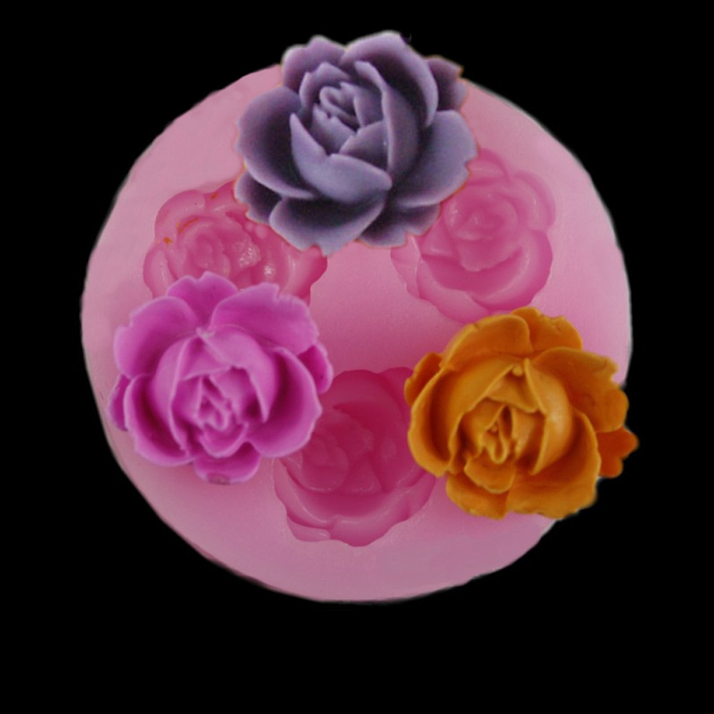 Candy Mold Sugar-Craft Decoration Chocolate-Cake Rose-Shape Baking Pink 3d Silicone Creative title=