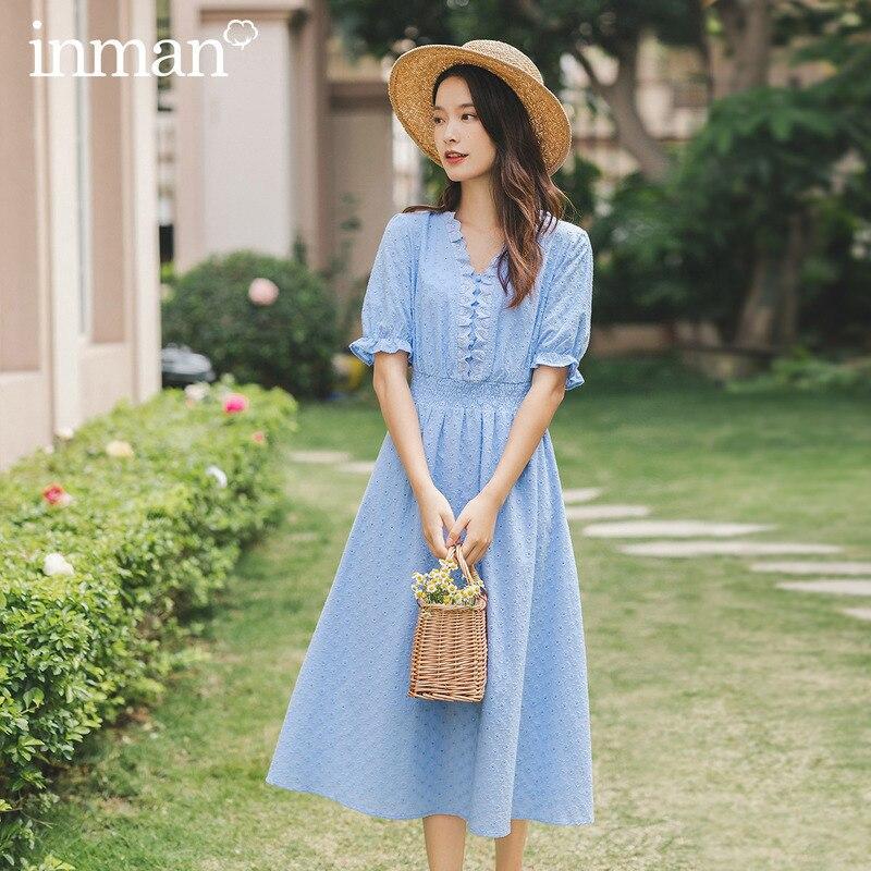 INAMN 2020 Summer New Arrival Lace Slimmed Nipped Waist Elegant Myfiona Short Sleeve Long Women's Dress