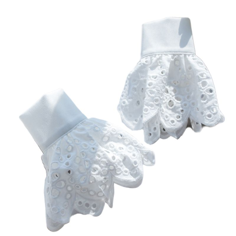 Womens Crochet Lace Horn Cuff Hollow Out Round Circle Detachable Fake Sleeves