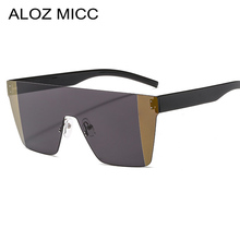 ALOZ MICC Lady Elegant Rimless Sunglasses Men Oversize Candy Sexy Two Color Female Women Windproof Eyewear UV400 Q711