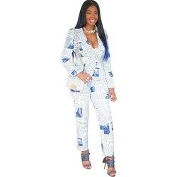 Conjunto de dos piezas con estampado Irregular de moda para mujer, trajes de oficina para mujer, pantalones largos, conjunto con americana ajustada, ropa de otoño e invierno