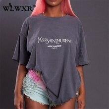 WLWXR Casual Letter Print Oversized T Shirt Women Tops Short