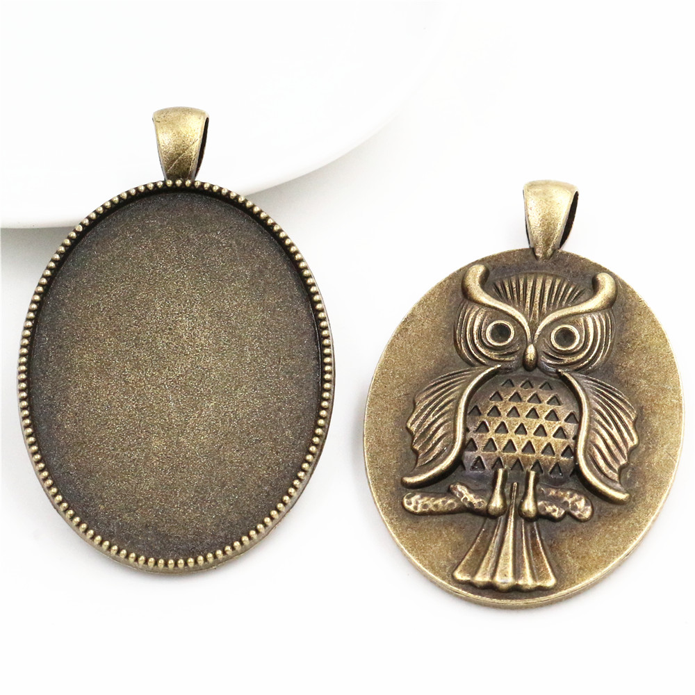 New Fashion  5pcs 30x40mm Inner Size Antique Bronze Owl  Cabochon Base Setting Charms Pendant (B2-17)