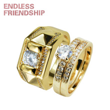 Endless Friendship Golden Diamond Design Ring Lover Women Men Fashion Couple Rings For Woman Gift anillos mujer