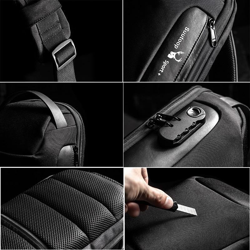 Multifunctional shoulder bag, for men, USB Anti-theft crossbody bag 3