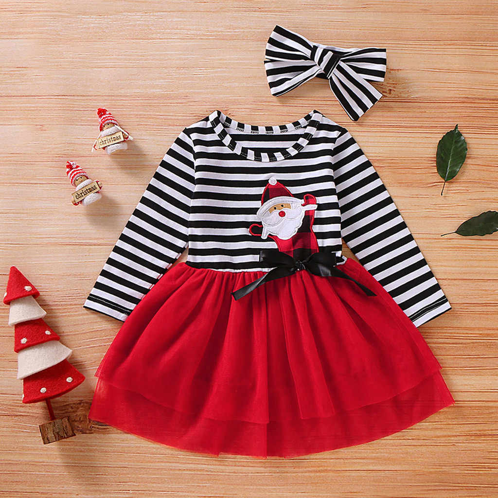Toddler Girls Christmas Dress Santa Striped Print Tulle Dress+Headband Outfits Christmas Kids Dresses For Girls Vestido Infantil