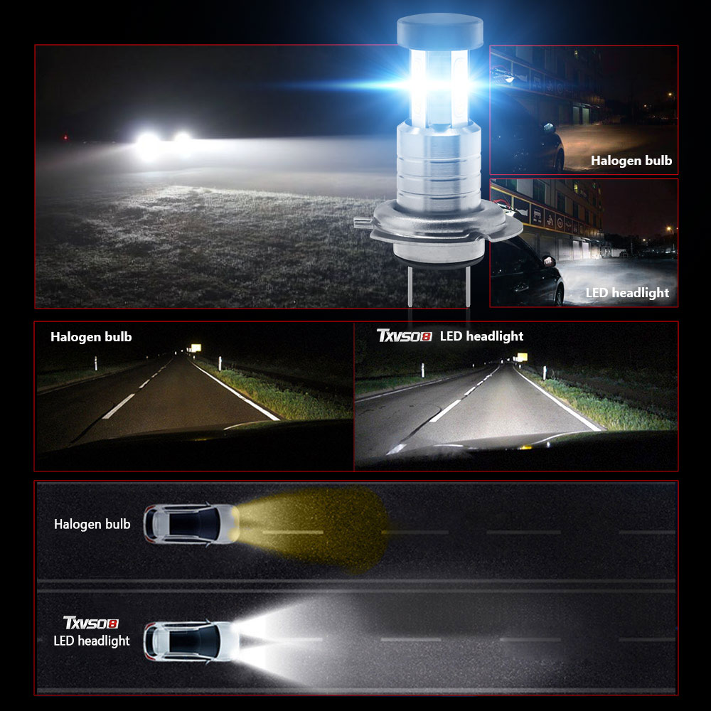 2PCS Car <font><b>H7</b></font> LED Headlight 12V 24V 110W <font><b>30000LM</b></font> Fog Lights Conversion Kit LED Lamps/Light Bulbs For Cars High/Low Beam 6000K image