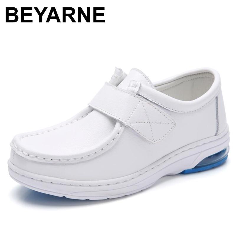 BEYARNESpring/Женская обувь на плоской подошве для медсестры; Слипоны из натуральной кожи; Женские белые лоферы на плоской подошве с круглым носко...