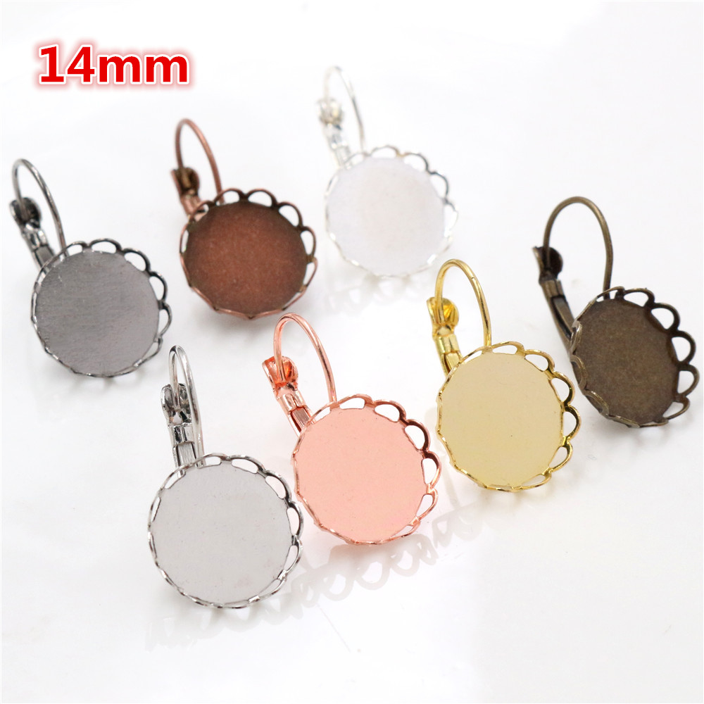 14mm 10pcs 7 Colors Plated French Lever Back Earrings Blank/Base,Fit 14mm Glass Cabochons,Buttons;Earring Bezels