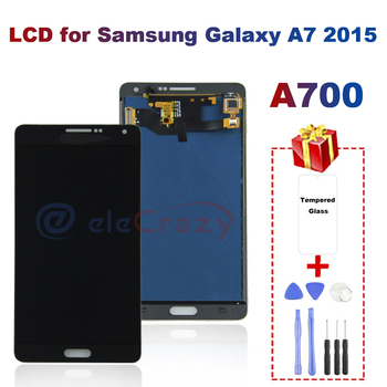 AAA LCD For Samsung Galaxy A7 A700 A700F Display A700FD A7000 A7009 Touch Screen Digitizer Replacement TFT 100% Tested Free Gift new tested lcd display matrix for 7 oysters t7x 3g tablet 1024 600 tft lcd screen panel lens frame replacement free shipping