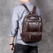 Повседневный Рюкзак из натуральной воловьей кожи для мужчин