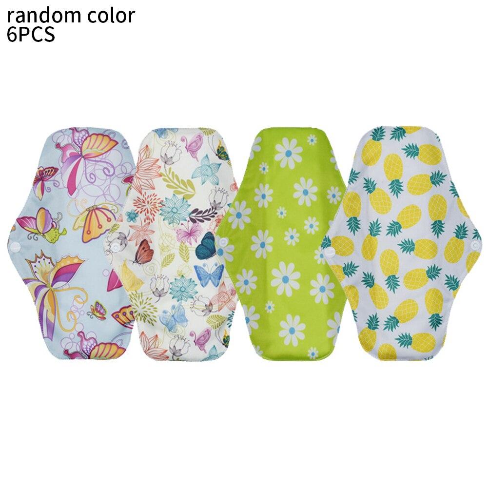 6pcs Printed Anti  Reusable Panty Liner Hygienique Bamboo Charcoal Washable Sanitary Pad Menstrual Absorbent Nappy