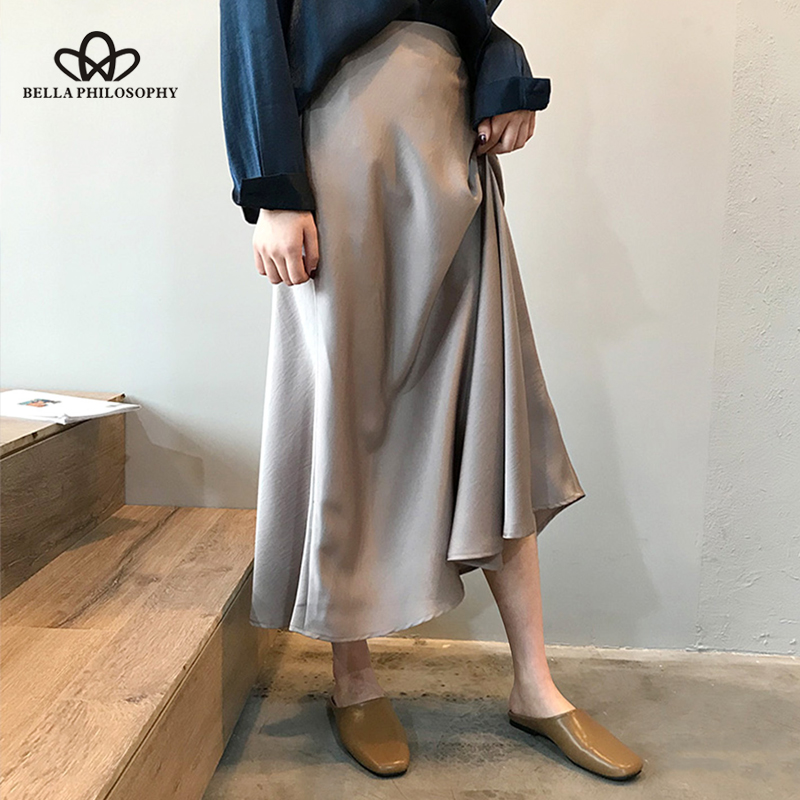 Bella philosophie automne femmes taille haute Satin jupe dame couleur métallique jupe femme brillant soie Imitation cheville longueur jupe