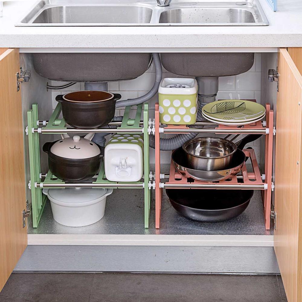 OTHERHOUSE Extendible Kitchen Rack Under Sink Storage Rack Shelf Cooker Pot Pan Holder Cabinet Organizer Kitchen Organizer