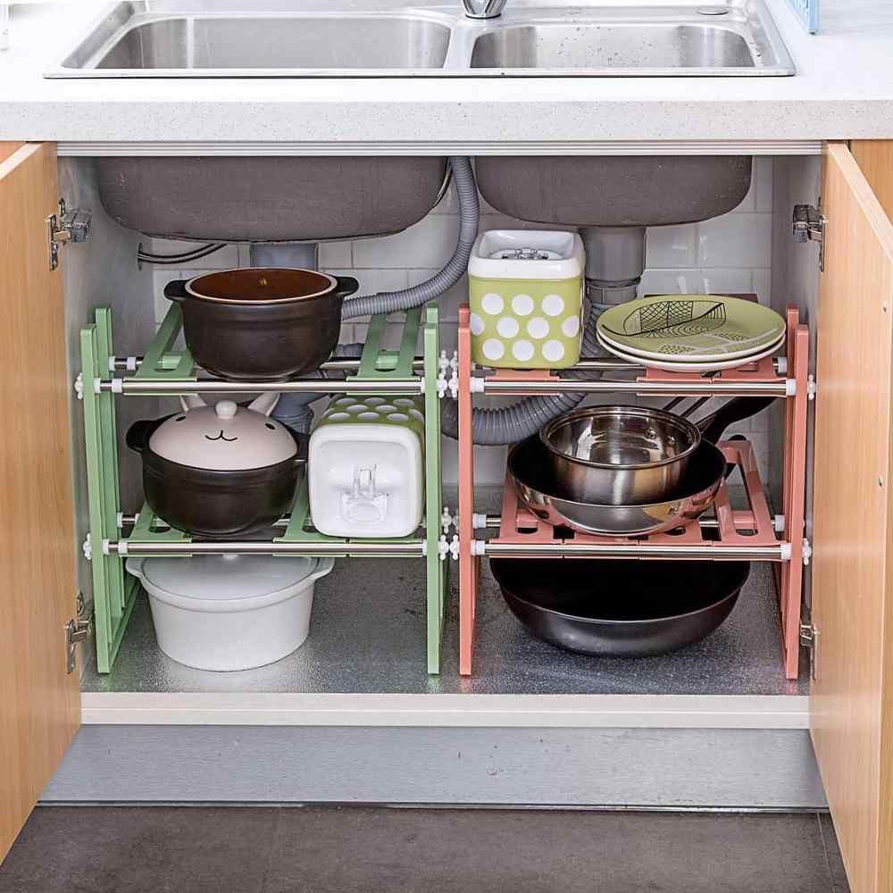 Otherhouse Extendible Kitchen Rack Under Sink Storage Rack Shelf Cooker Pot Pan Holder Cabinet Organizer Kitchen Organizer Racks Holders Aliexpress