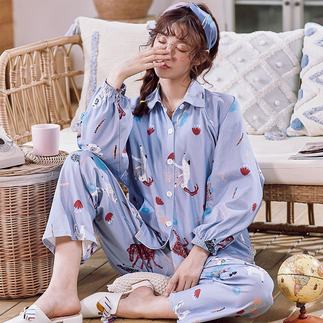 BZEL Cotton Pajamas Set Autumn Winter Women Sleepwear Cartoon 2PCS Nighty Cute Nightwear Suit Female Home Wear Pijama Pyjama 3XL