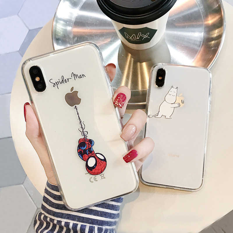 For iphone 6 7 8 6s 11 Pro Max Case For iphone X XS XR 7 8 Plus xs max 5 5s se Case Cover Spiderman Transparent Mickey Case Cut
