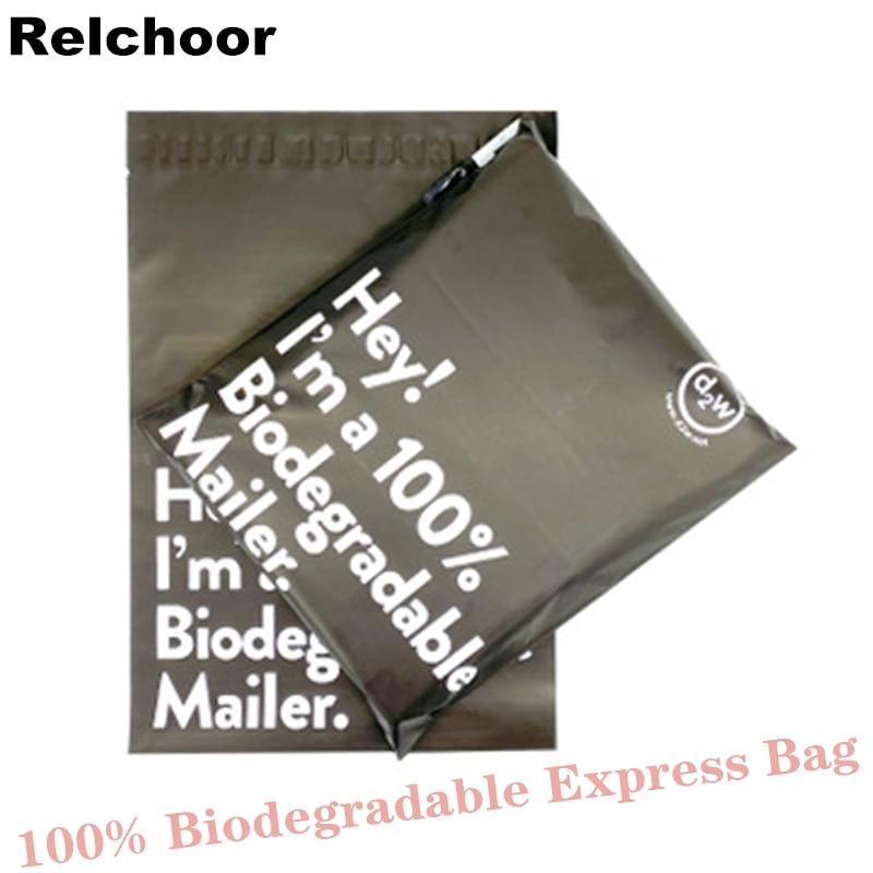 50 шт. черный 100% D2W биоразлагаемые Курьерская сумка эко курьера Водонепроницаемый почты мешков полиэтиленовые пакеты для уплотнения Пластик...