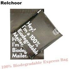 50 pçs preto 100% d2w biodegradável courier saco eco courier sacos de correio à prova dwaterproof água poli mailers selo plástico saco envelope