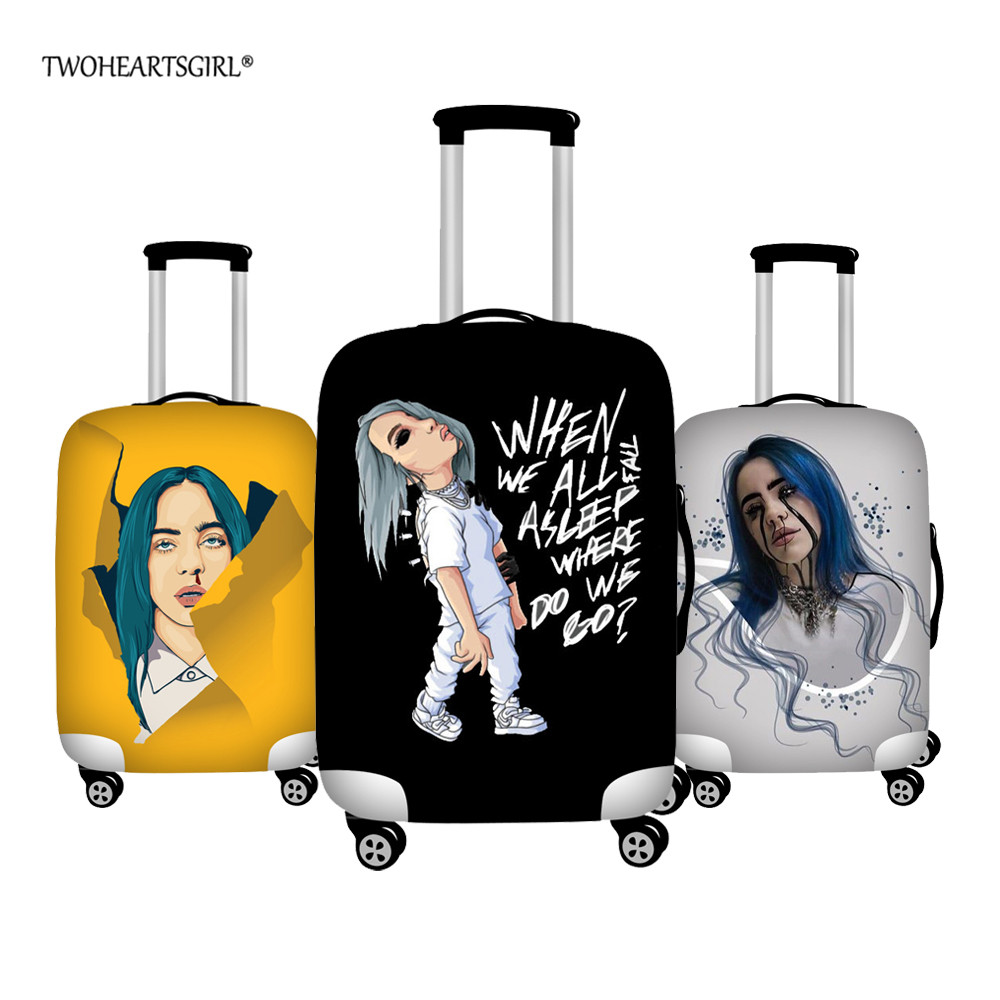 TWOHEARTSGIRL Billie Eilish Printed Luggage Cover Travel Suitcase Protective Covers Elastic Trolley Case Protector Dust Cover