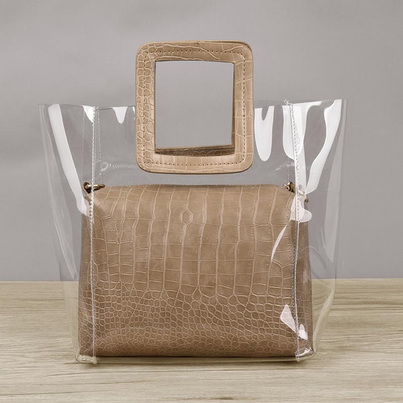 MLHJ 2019 Women CompositeTop handle Bags Transparent Handbags Women 39 s Fashion Beach Bags Summer Shoulder Bags Casual Handbags in Shoulder Bags from Luggage amp Bags