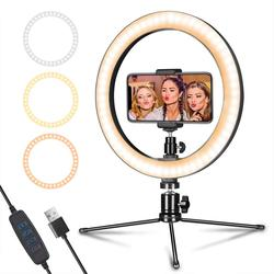 LED Ring Light 10 with Tripod Stand & Phone Holder for Live Streaming & YouTube Video, Dimmable Desk Makeup Ring Light