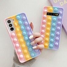 Für Samsung Galaxy Note 9 10 20 S9 S10 S20 S21 Plus Ultra Fall Reliver Stress Pop Zappeln Spielzeug Push blase Weiche Silikon Abdeckung