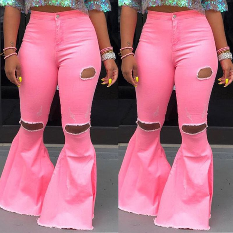 Skinny High Waist Ripped Jeans Women Flare Pants Plus Size Denim Fashion Bell Bottom Ladies Trousers Sexy Pink Yellow Fall 2019