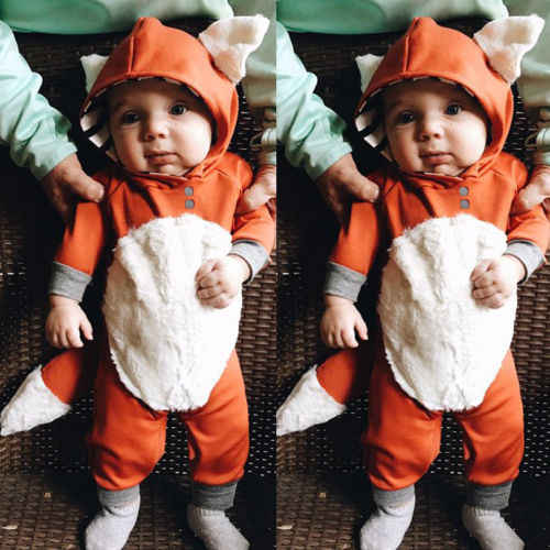Fashion Kids Baby Boys Girls Hooded One Piece Jumpsuit Romper Outfit Clothes 0-24Month Infant Clothes