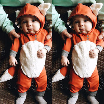 Fashion Kids Baby Boys Girls Hooded One Piece Jumpsuit Romper Outfit Clothes 0-24Month Infant Clothe