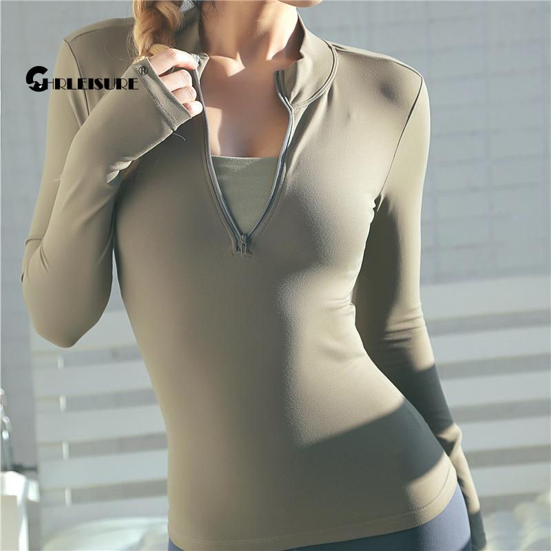 CHRLEISURE Long Sleeve Yoga Shirts Sport Top Fitness Yoga Top Gym Top Sports Wear For Women Push Up Running Full Sleeve Clothes 1