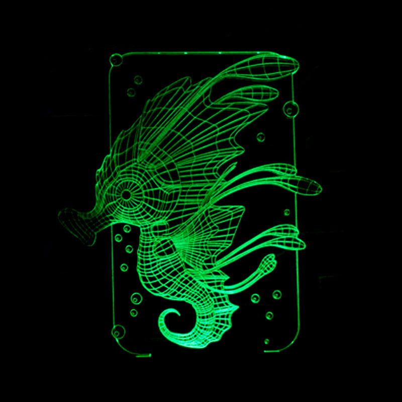 Foreign Trade New Style Hippocampus Colorful 3D Night Lamp Creative Touch Switch Energy Saving Lamp 3D LED Illusion Lamp image