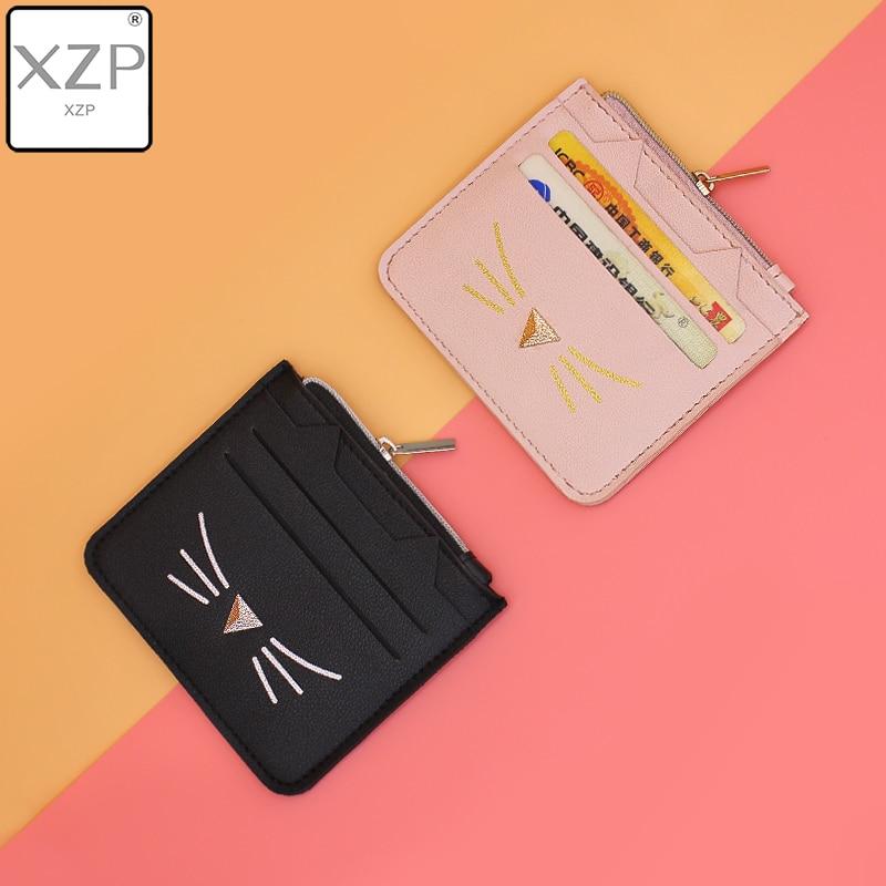 XZP 2019 European Cute Cat Cartoon Wallet Creative Female Card Package Casual Ladies Clutch Bag PU Leather Wallet Coin Purse ID