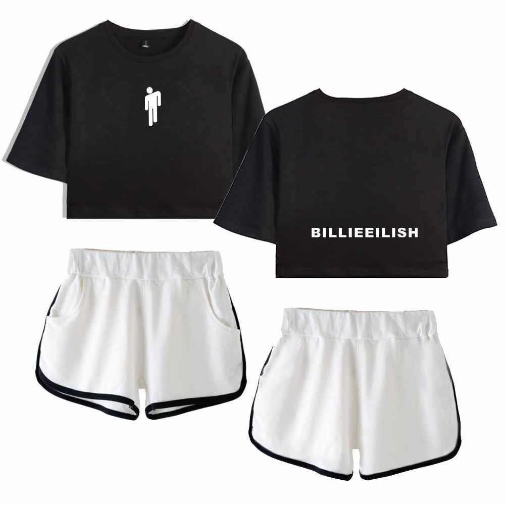 Summer Women Fashion Billie Eilish Dew Navel T Shirt Sets Two Piece Set Short Pants Girl Home Service Sexy Biker Shorts Aliexpress