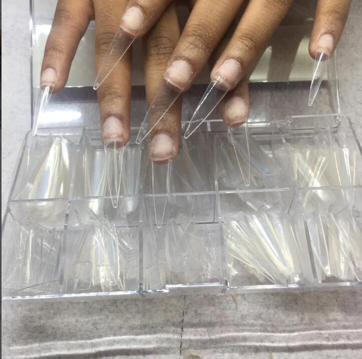 500pcs /Box 2 Colors C-Curve Ghost Tips Sharp Stiletto False Tips 500X Full-length Long Pointed Nail French Fake Nails 30-43cm