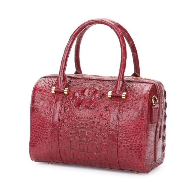 Hujingsha Thai Siamese Crocodile Skin Lady Bag Leather Lady Handbag Large Capacity Cross-body Single Shoulder Lady Pillow Bag