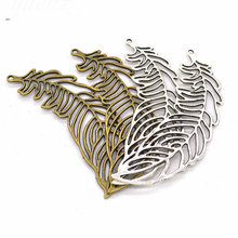 Alloy Feather Pendant Charms Leaves Shape For Jewelry Making DIY Accessories