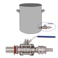 "Kit de válvula de chaleira de desconexão rápida sem solda  válvula de esfera de 3 peças  1/2 ""desconexão rápida 1/2"" farpa  aço inoxidável|kettle valve kit|kettle valve|3 piece ball valve -"