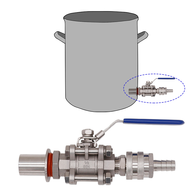 Weldless Quick Disconnect Kettle Valve Kit, 3 Piece Ball Valve, 1/2