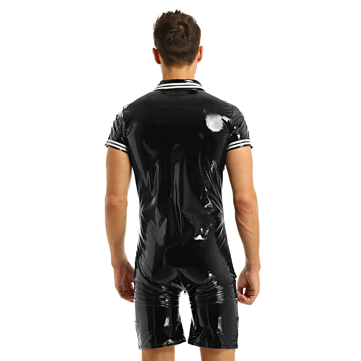 Image 4 - iEFiEL Mens Latex Wetlook Sexy Lingerie Clubwear Patent Leather Front Zipper Boxer Shorts Leotard Bodysuit Costumes BodystockingTeddies & Bodysuits   -