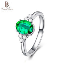 Bague Ringen New Design Ring Silver Jewelry Zircon inlaid finger rings adjustable opening emerald green Color Gemstone Women(China)
