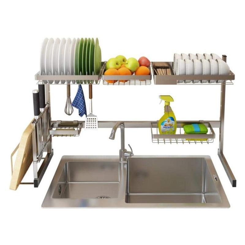 Storage Holders Stainless Steel Kitchen Tools Shelf Utensils Storage Supplies Drying Bowl Sink Rack Bowl Dish Rack Organizer