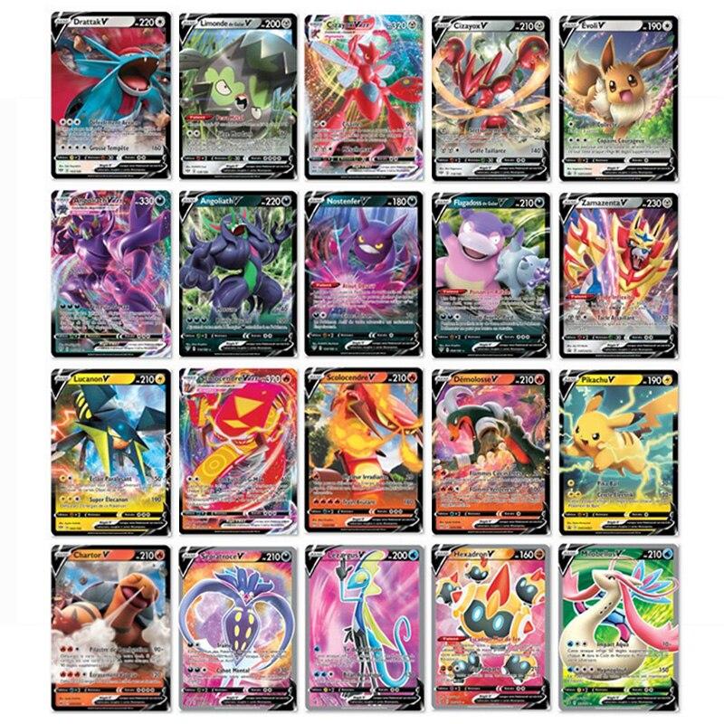 Cartão francês do pokemon da versão que caracteriza a equipe 300 100 da etiqueta dos pces 200 g x 150 v max vmax