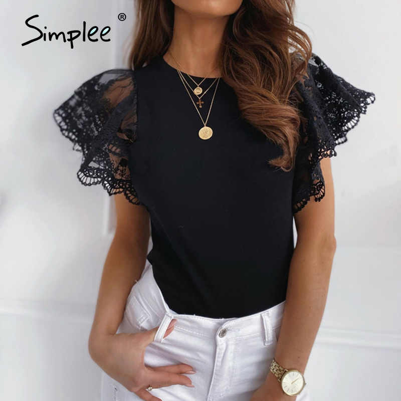 Simplee Elegante Kant Patchwork Hollow Out Korte Mouw Blouse Shirt Vrouwen Casual Solid Top Sexy Witte Blouse Zomer Blouses 2020