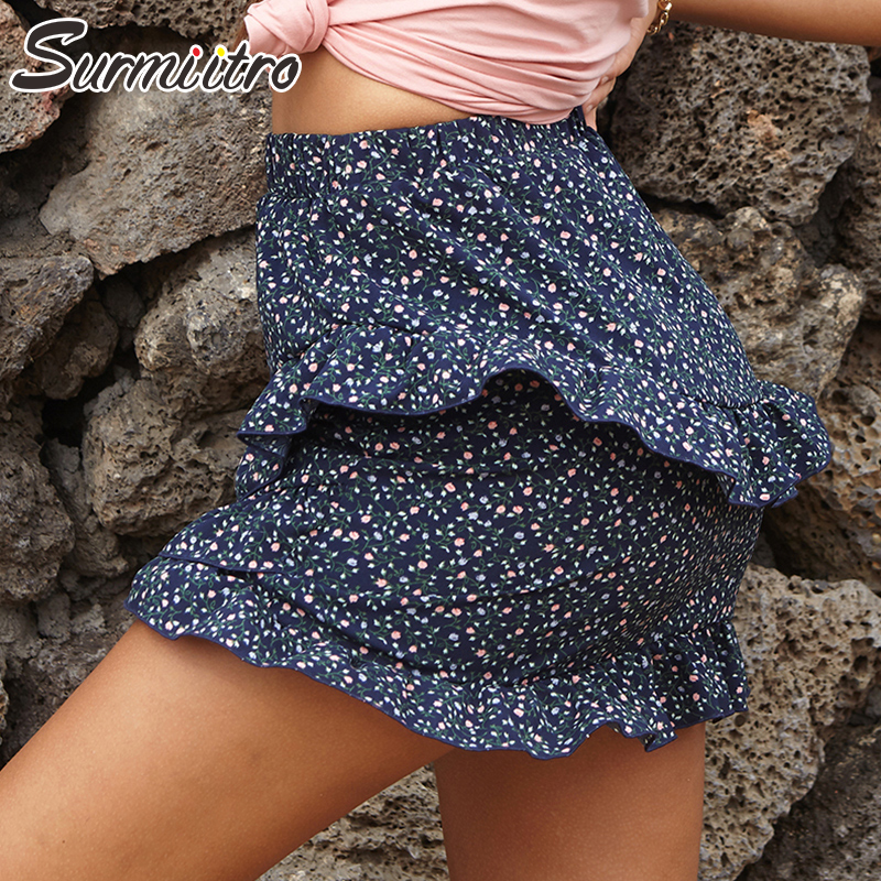SURMIITRO Mini Summer Skirt Women 2020 Fashion Sexy Yellow White Ruffles Floral Print High Waist  Sun Skirt Female