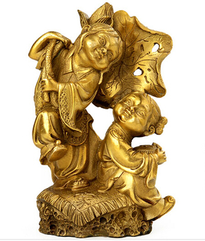 Collection of pure copper twin men's and women's sculptures wedding gifts home furnishings Fengshui decoration accessories