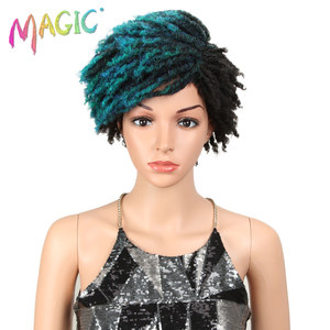 """MAGIC Hair Curly Synthetic Wigs For Black Women 10""""Inch Mixed Color Short Wig Adjustable Free Shipping(China)"""