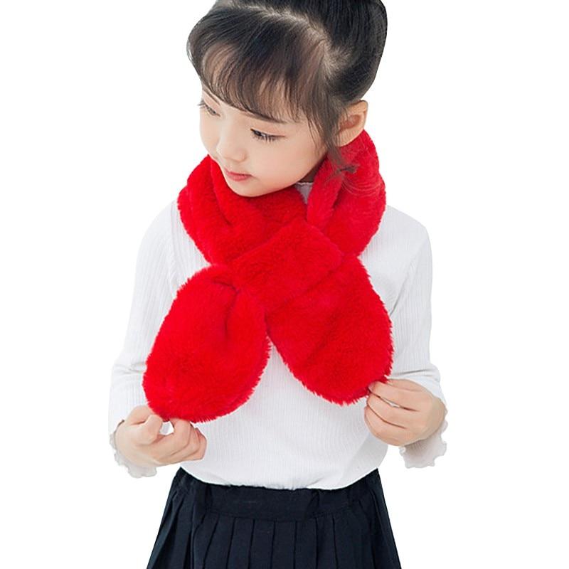 Children Girls\' Scarf Plush Fur Scarf Solid Color Cross Collar Shawl Neck  Winter Warmer